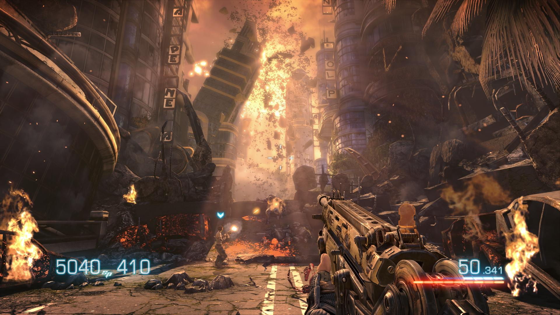 Bulletstorm: einstürzende Stadt