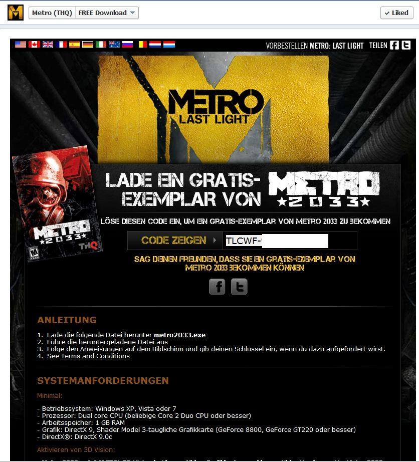 Kostenlos und legal: Metro 2033